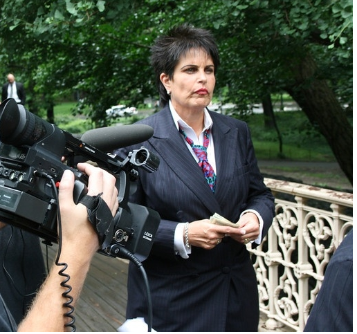 Linda Webb, Fraud Dog on set in New York City, Central Park